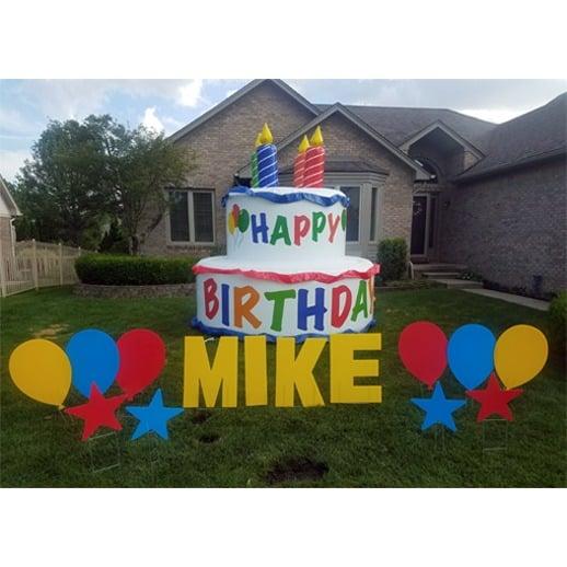 happy birthday yard sign cake
